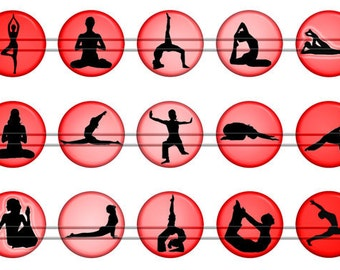 Yoga Magnets Pins, Yoga Postures Magnets, Yoga Postures Pins, Yoga Silhouettes