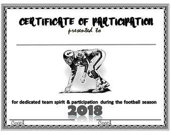Item#034 - 2018 Football Sports Certificate - Digital Download