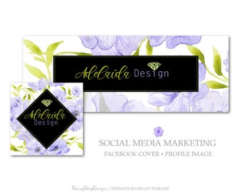 Facebook Cover,Profile Image,Social Media Marketing-Floral,Diamond,Jewelry-Lavender,Light Green,Black-Facebook Storefront