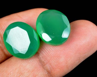 20.15 Ct Natural Oval Cut Green Onyx Emerald Loose Gemstone Matching Pair Christmas Gift