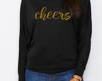 Cheers Shirt - Champagne Tee - Gift for Her - New Years Eve Shirt - Bachelorette Party Shirts - Longsleeve Tees - Long Sleeve Shirt