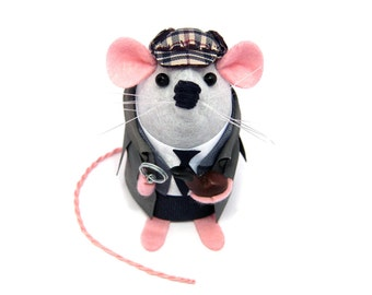 Sherlock Holmes Mouse - collectable art rat artists mice cute soft sculpture toy stuffed plush doll gift for husband dad boyfriend brother