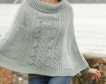 Women handmade hand knit poncho / cape in 100% soft wool with lace pattern and cowl neck, sizes S/M-L/XL-XXL/XXXL