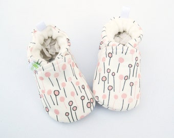 Organic Knits Vegan Pink Little Poppies / All Fabric Soft Sole Baby Shoes / Babies