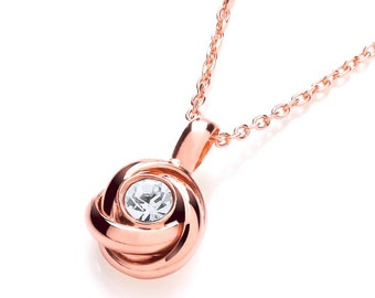 "Sterling Silver Centre Cz Knot Pendant 17"" Chain-Rose Gold or Silver"