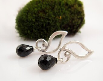 Elven Leaves with black spinel