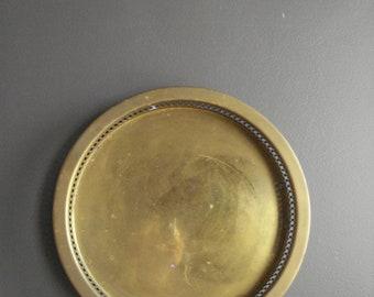 Ornate Brass Tray - Round Brass Tray - Brass Tray with Sides or Rim