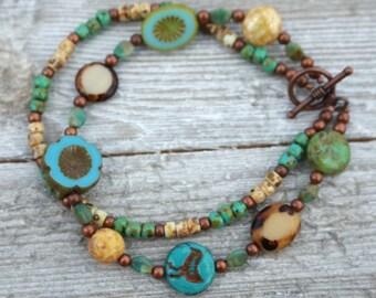 Summer double bracelet, gift for her, boho bracelet, Mothers day gift