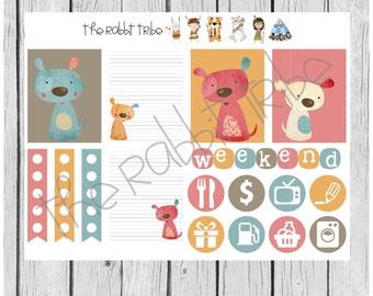 Weekly sticker set - scrappy dogs - planner stickers