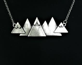 Gunmetal Mountain Necklace - XLarge \\ Gunmetal Jewelry \\ Mountain Jewelry \\ Mountain Lover Gift
