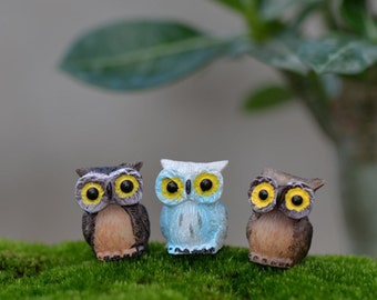3pcs Cute Night Owl Terrarium Figurines Fairy Garden Miniatures Bonsai Tools Succulent Resin Craft Micro Landscape Home Decor Accessories
