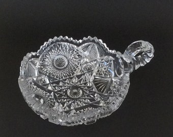 Radiant Daisy Nappy Dish By Imperial Glass Co. / NuCut Line / Single Handle Clear Pressed Glass / Vintage Collectible