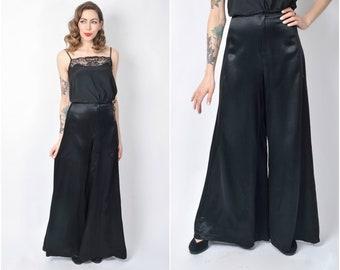 Vintage 1970's Wide Leg Black Satin Pants/ 70's High Waisted Palazzo Pants Size X-small