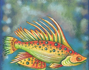 Funky Fish 2 - an 8 x 10 inch ART PRINT of a happy yellow, orange, red and green fish happily swimming along in the deep greenish blue sea