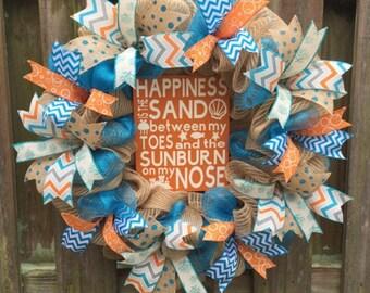 Summer Front Door,Beach Wreath, Deco Mesh Wreath, Double Door Wreath, Welcome Wreath,Beach House Wreath,Mesh Wreath,Front Door Wreath,Summer