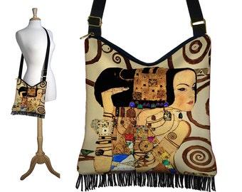 Bohemian Hippie Bag Hobo Purse Crossbody Slouch Bag Gyspy Boho Fringe Bag, Gustav Klimt Expectation, Art Nouveau, Woman Goddess, MTO