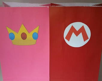 10 pc. Super Mario Princess Peach Party Favor Bags-Can do any Mario Character!
