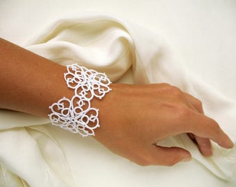 Beautiful white wedding jewelry Dainty tatting lace bracelet for woman Elegant cuff bracelet for bride Bridal shower gift Perfect gift idea