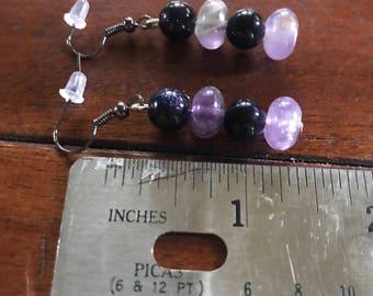Amethyst and blue goldstone earrings