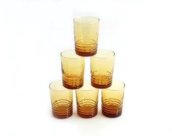 Orange Juice Glasses, Yellow Glass Tumblers, Set of 6 Water Glasses