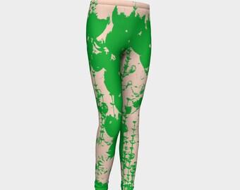 Girls Leggings, Pink and Green Leggings, Garden, Girls Yoga Leggings, Leggings, Girls Clothes, Back to School Leggings, Girls Yoga Pants