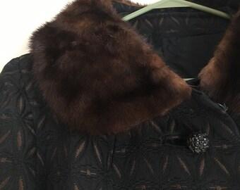 Black & Brown Patterned Coat w/ Fur Collar