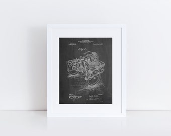 Motorcycle Sidecar 1918 Patent Poster, Vintage Motorcycle, World War 2, Motorcycle Wall Art, Automotive Decor, PP0963