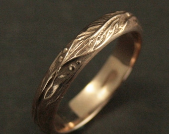 Solid Gold Men's Band--Gold Men's Ring--Hand Cast Ring--Elven Band--Leaf Band--Leaf Ring--Blazer Arts Exclusive--Recycled Gold Band