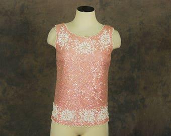 vintage 60s Beaded Tank Top - 1960s Pink Wool Sweater Sleeveless Sweater Beaded SZ S