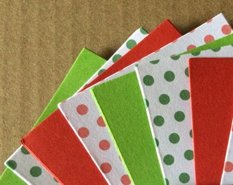 20 x A7 Christmas Cardstock Red & Green Polka Dot  - Place cards gift cards gift tags scrapbooking card making