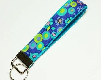 Key Fob - Key Lanyard - Wristlet Lanyard - Fabric Keychains - Wristlet Lanyard -- Bright flowers on purple