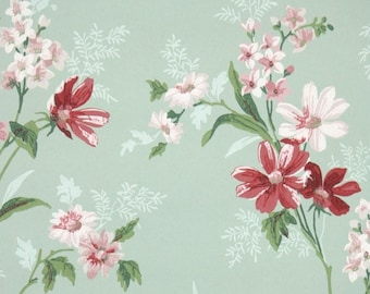 1940s Vintage Wallpaper by the Yard - Floral Wallpaper with Pink and Red Flowers on Green