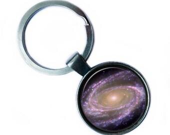 NASA Photograph Purple Galaxy Keychain Keyring