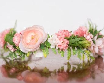 Flower Crown in Coral with Greenery- Flowergirl hairpiece - Coral Wedding - Newborn Photo Prop - Wedding Crown - Floral Hairpiece