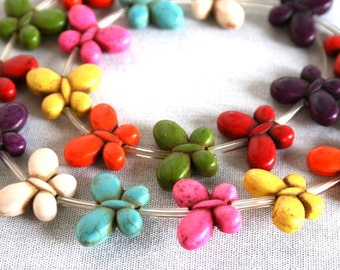Mixed Color Butterfly Magnesite Beads