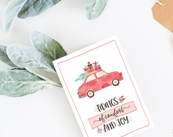Comfort and Joy // Tidings // Christmas Card // Holiday Card // Watercolor Card // Merry Christmas