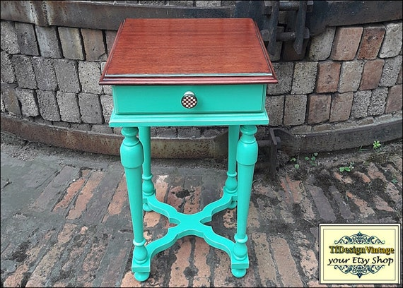 Mesita auxiliar turquesa, Telefonera original,Mueble en turquesa, Mesita pequeña, Mesita de madera, Mesita telefonera, Mesita con cajón