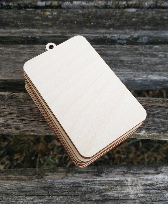 "Wood Ornament Tag, Rectangle. CHOOSE YOUR SIZE. D.I.Y Christmas Ornaments. 1/8"" Thick, Laser Cut. Custom Orders Welcome."