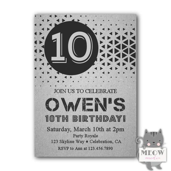 9 Years Old Birthday Invitations Wording Boy 11 10th Invitation Printable