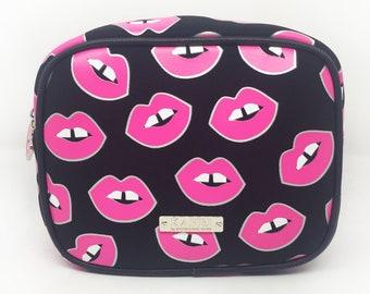 Pink Lips Neoprene Large Cosmetic Bag