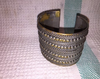 Vintage wide cuff bracelet with silver finish
