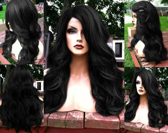 Black Lace Front Wig // Long Baby Hair Wavy Off Black Heat Safe Lace Front & Part Curly Wig // #am12