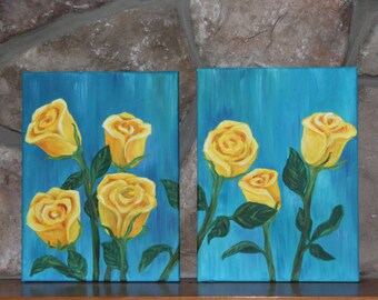 Yellow Roses/ Teal Background/ Diptych/ Painting