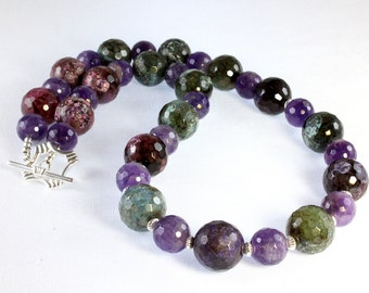 Green and Purple Agate and Amethyst Necklace, Agate and Amethyst Necklace, Sterling Silver, Chunky Necklace, Gemstone Necklace