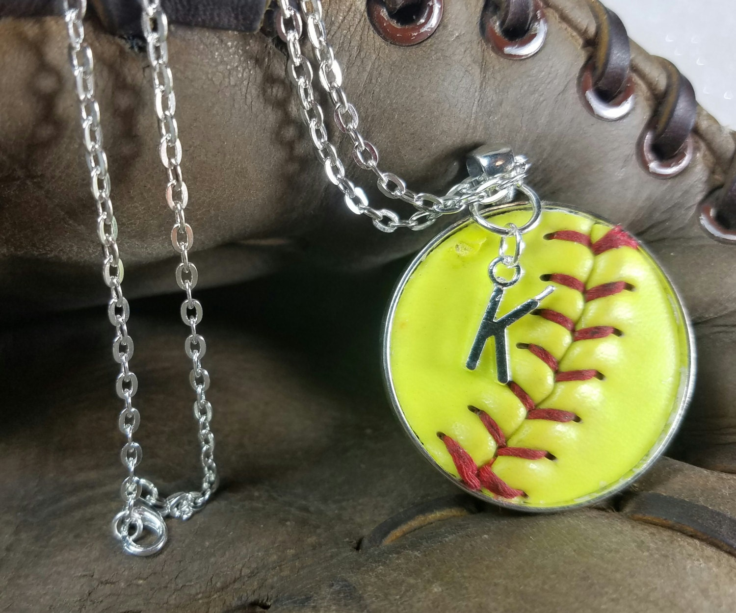 softball glove necklace crystal hanging accent violin ball with products and spinningdaisy bow