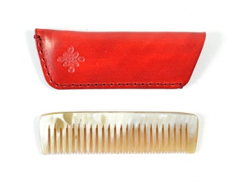 Handmade Horn Pocket Comb With Vegetable Tanned Leather Sleeve Case