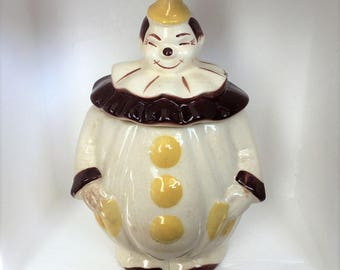 Clown Cookie Jar Brown Yellow Cream 1930s 1940s San Jose Pottery American Bisque