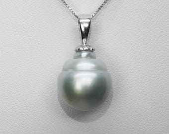 South Sea Pearl Pendant in Silver, 15 x 13 mm