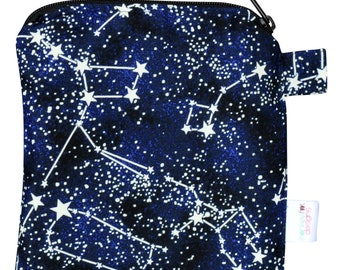 X Small 6.5 x 6.5 Wet bag / Reusable Snack Bag / Toys / Electronics / Glow in the Dark Constellations Space Fabric / SEALED SEAMS