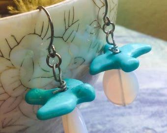Glowing Opalescent Earrings Turquoise Blue Bird Earrings Fly Away Home Gun Metal Earring One of a Kind